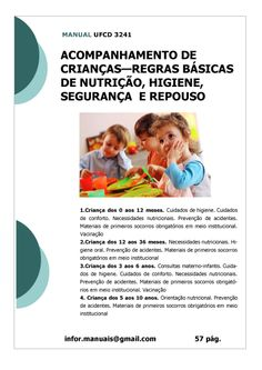 ufcd 3241. Acompanhamento de crianças - Regras de nutrição, segurança, higiene e repouso