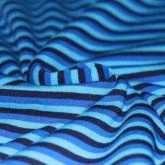 Baumwolljersey Streifen 5mm Aqua Kobalt Marine