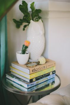 Bedside Table Staging Inspiration: Eclectic stacked books + small succulent + magnifying glass trinket + ceramic owl. | apartmenttherapy.com Design by Tori Hendrix
