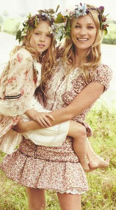 mom and daughter photo one day! so so cute. love the floral halos