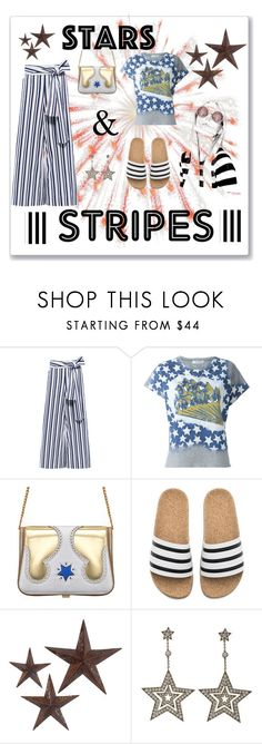 """""""Stars & Stripes"""" by neesyrn on Polyvore featuring Tanya Taylor, Valentino, The Volon, adidas, jcp, Tiffany & Co. and Tempaper"""
