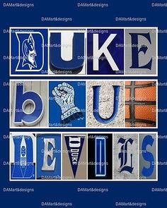 Duke Blue Devils Framed Alphabet Photo Art