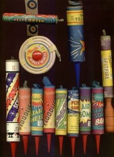 Fireworks in a tin box and rockets in sand.safety first! Firework labels from the and A pile of old bangers! Photo by Mark Flemi Fireworks Box, Vintage Fireworks, 1970s Childhood, Childhood Memories, Standard Fireworks, Guy Fawkes Night, Nostalgia, The White Album, Season Of The Witch