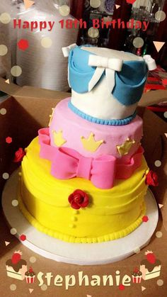 Princess themed birthday cake. Absolutely adorable! Deb's