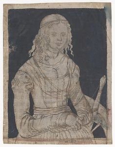 """Lucas Cranach the Elder (German, Kronach 1472-1553 Weimar) """"Saint Catherine"""" ca. late 15th- mid-16th century. Silverpoint, brush and brown ink, and indigo wash on vellum, pricked for transfer along brush lines."""