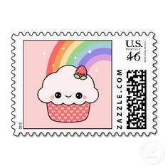 Cute Strawberry Cupcake Stamps