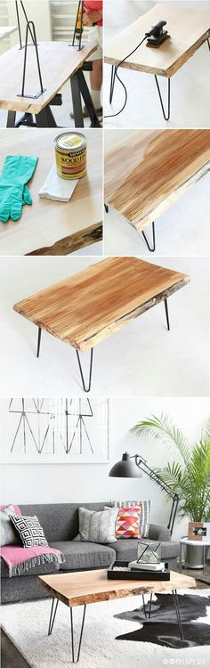 DIY Wood Slab Coffee Table with hairpin legs - My Interior Design Ideas