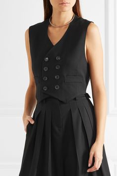 McQ Alexander McQueen | Double-breasted stretch-wool crepe and satin vest | NET-A-PORTER.COM