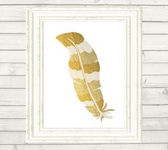 FEATHER GOLD foil faux Printable Instant by PetitePrintingDesign