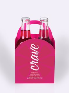 Crave Vodka Coolers by Megan Lewis, via Behance | Crave Coolers are fun but sophisticated drinks created to appeal to a wide feminine audience. Crave comes in a wide variety of refreshing flavours and has a simple identity that's not hard to miss. Shapes are used to create a memorable box that reflects the freshness of the design and the curves of the fruit.