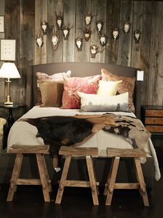 Rustic Bedroom Photo - A grouping of antlers hung above an upholstered bed