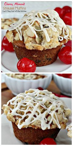 Cherry Almond Streusel Muffins | Can't Stay Out of the Kitchen | rich and decadent, these #breakfast #muffins are sweet enough for #dessert! #cherries #almonds #greekyogurt