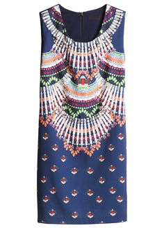 Navy Sleeveless Bead Gemstone Print Dress.  Love the idea of this--no accessories necessary!