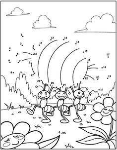 ant dot to dot coloring page