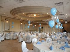 Baptism Christening Balloons Centerpiece Decoration - Set of 3 Latex, 2 in Blue and 1 in Silver - Balloon Decorations 🎈 Baby Boy Christening Decorations, Baptism Table Decorations, Christening Centerpieces, Christening Balloons, Christening Party, Baby Boy Baptism, Christening Table Ideas, Baby Boys, Balloon Centerpieces