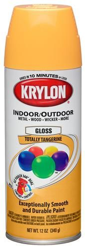 Krylon Totally Tangerine. For use with wood, metal, wicker, wrought iron, glass, plaster, ceramic, fabric, paper and paper Mach