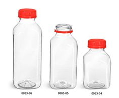 Clear PET Square Beverage Bottles w/ Red Tamper Evident Caps are a great packaging option for milk, lemonade or tea.