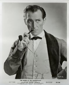 """Peter Cushing as Sherlock Holmes in Hammer Films' """"The Hound of the Baskervilles"""" Hammer Movie, Hammer Horror Films, Hammer Films, Horror Movies, Sherlock Holmes Writer, Sherlock Bbc, Frankenstein, Elementary My Dear Watson, People Smoking"""