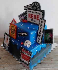Broadway, muscial birthday cake.... theater, broadway, night, 50th - The lady that ordered this cake, loves Broadway muscials, so I decided to include all her favorites...... love how it came out. oh, vanilla cake with chocolate ganache.