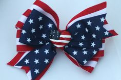 Red White and Blue Stars and Stripes Hair Bow by bowsforme on Etsy, $7.49