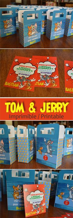 Tom y Jerry imprimible. Bolsitas golosinas. Invitaciones. Tom and Jerry Party. Tom & Jerry printable. Birthday Invitation. Candy bag.