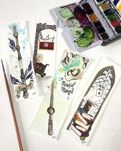 """Sadi on Instagram: """"Last one of the set! These were so fun to create! I will be adding these along with more bookmarks and new paintings to the Etsy shop this…"""" Watercolor Bookmarks, Harry Potter, Ads, Etsy Shop, Paintings, Create, Shopping, Instagram, Paint"""