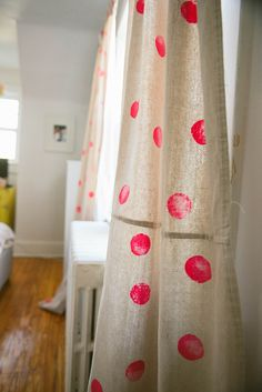 DIY hand-painted sponge art curtains