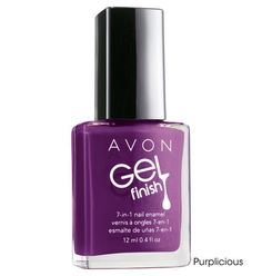 Avon: Gel Finish 7-in-1 Nail Enamel, great polish, only needed 2 coats and in a weeks time I noticed my nails were stronger and longer as if I had gotten a manicure :) comes in great colors...check them out on my web page: www.youravon.com/SandraOtto.