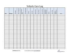 Car Maintenance Log Template  Troop   Holland Mi Vehicle