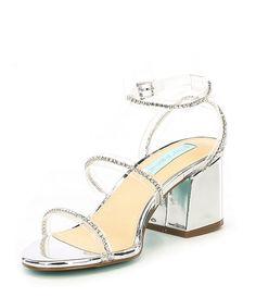 Betsey Johnson Blue by Betsey Johnson Sami Jeweled Translucent Strap Block Heel Dress Sandals u7ybGa