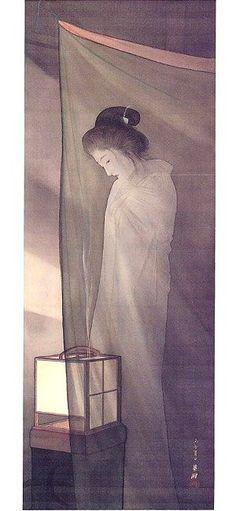 鰭崎英朋 Hirezaki Eiho「蚊帳の前の幽霊」