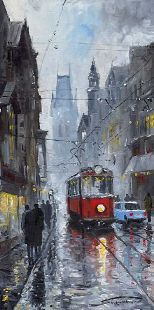 Gallery of artist Yuriy Shevchuk: Oil Cityscape Paintings, Prague Old Tram 03a