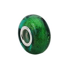 Kera™ Green Murano Glass Bead in sterling silver. To find a retailer near you, visit stuller.com/locateajeweler   #emeraldgreen #coloroftheyear