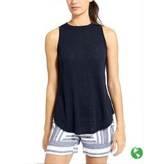 Athleta Women Breezy Tank ($44) ❤ liked on Polyvore featuring tops, navy, navy blue tank top, navy tank, blue jersey, summer tank tops and blue tank