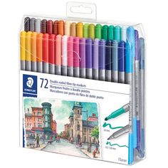 Find the Staedtler® Duo Fiber-Tip Pens at Michaels School Stationery, Cute Stationery, Cute School Supplies, Office And School Supplies, Accessoires Ipad, Stationary Supplies, Art Supplies, Twin Tips, Ink Wash