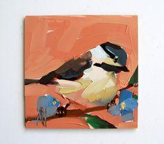 Chickadee no. 720 original bird oil painting by by prattcreekart