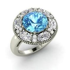 Blue Topaz  Ring in 14k White Gold with VS Diamond, Diamond (4.09 ct.tw.) - Salsa