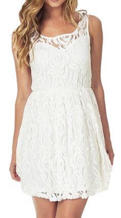 White Lace Sleeveless Dress