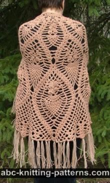 ABC Knitting Patterns - Gradient Color Shawl with Crochet Fringe.
