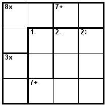 Number Logic Puzzles: 24157 - Kenken size 4