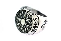 Digby & Iona: Compass Signet Ring ('Omnes Qui Errant No Pereunt'= 'Not All That Wander Are Lost')