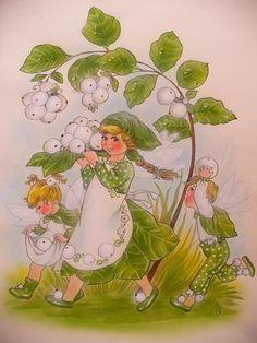 Die Schneebeerenelfen sammeln die Schneebeeren um für die Schneekönigin eine Schaukel zu flechten. Und je höher sie schaukelt desto mehr Schnee fallen aus ihrem wunderschönen  Kleid.  Aus meinem Märchenbuch