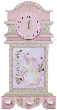 Jenny Bunny Handpainted Clock