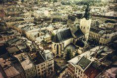 Lviv ukraine skyline aerial.