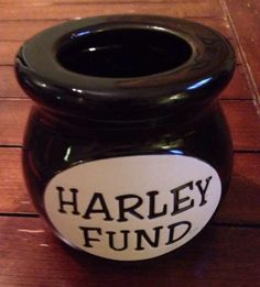 Harley Fund - Ceramic jar/jug used for change / Money Bank Harley Davidson gift
