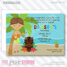 Hula Boy Invitation-personalized invitation, photo card, photo invitation, digital, party invitation, birthday, shower, announcement, printable, print, diy, luau, hawaiian