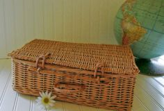 Small Wicker Suitcase - Vintage Hand Woven Picnic Hamper - Shabby Chic Carry All