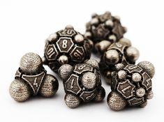 Nucleii Dice Set 3d printed Stainless Steel