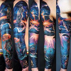 half sleeve tattoos with meaning Half Sleeve Tattoos Color, Ocean Sleeve Tattoos, Animal Sleeve Tattoo, Half Sleeve Tattoos Designs, Leg Sleeve Tattoo, Best Sleeve Tattoos, Arm Tattoo, Hai Tattoos, Time Tattoos