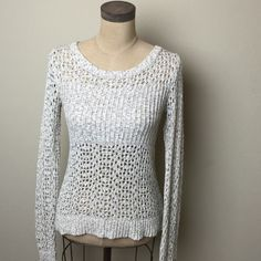 Anthropologie crochet knit crew neck sweater Fabulous multi patterned crochet knit crew neck sweater. Staring at stars for Anthropologie. 53% cotton 31% nylon 16% polyester Anthropologie Sweaters Crew & Scoop Necks